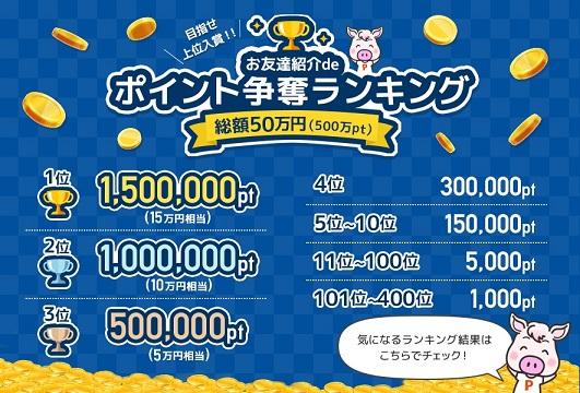 総額50万円分のポイント争奪ランキング賞金