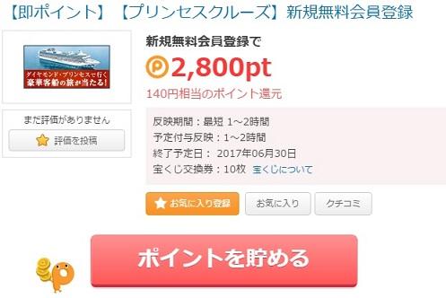 プリンセスクルーズで140円