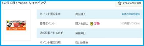 Yahoo!ショッピング5%還元