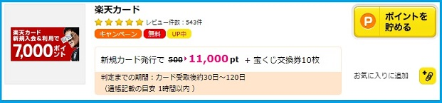 楽天カード発行で11,000円