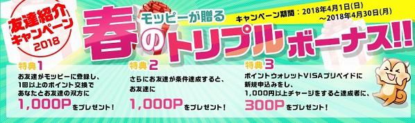 モッピー 新規入会キャンペーン!条件クリアで最大2300円お得に入会できます。