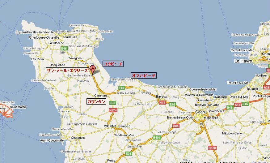 サン・メール・エグリーズ地図 サン・メール・エグリーズは、コタンタン半島にあり、アメリカ第4師団