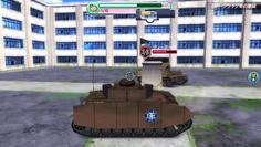 最終決戦は1対1の勝負 まともに撃ち合うと負けるので、広場中央の柱を盾にして敵の攻撃を防ごう