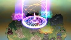 直後、大地を貫く3本の塔が出現し、巨大な魔方陣が!