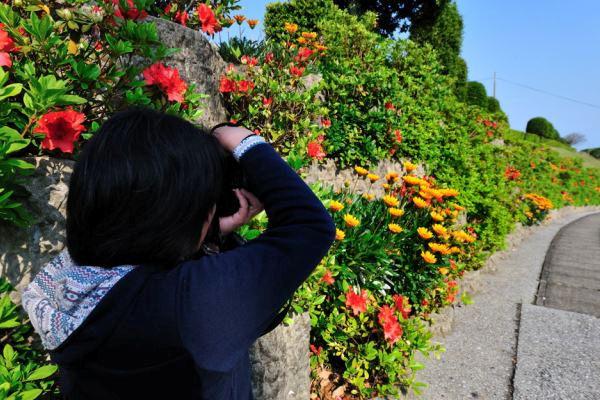 太陽の里で写真撮影する私