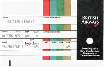 1988年9月5日 成田→アンカレッジ British Airways チケット