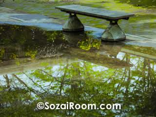 ベンチと水に映った樹木