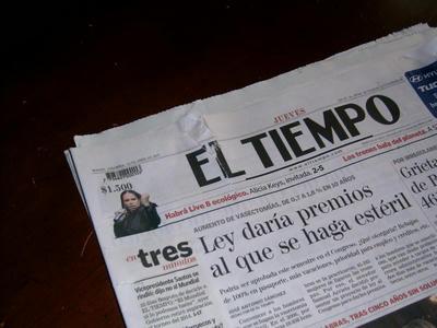 唯一の全国紙El Tiempoもずたずた
