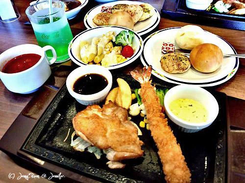 チキンステーキ<テリヤキソース>&エビフライ