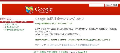 Google 年間検索ランキング 2010