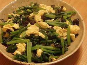 小松菜ときくらげの塩炒め