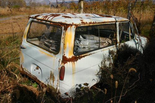 リヤゲート。横開きなので初期型の三菱360じゃないかなぁ。1961~1963