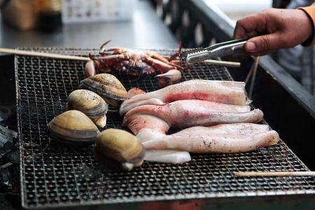 ホッキ貝網焼き。