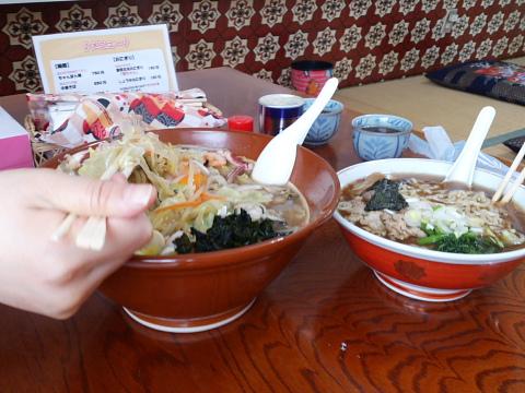 チャンポンメンと中華そばの比較。妻すげえ