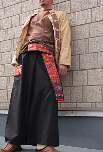 モン族刺繍布ベルトタイパンツ