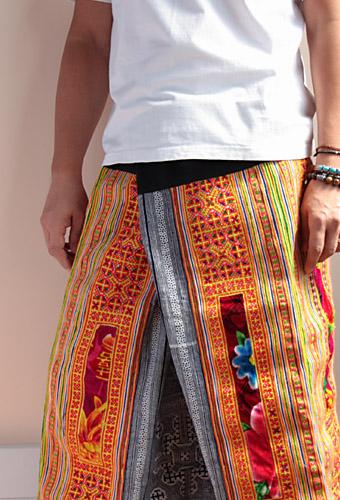 モン族刺繍タイパンツ