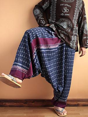 絣柄手織りコットンアラジンパンツ