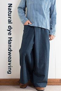 藍染め手織り綿のタイパンツ