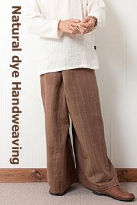 草木染手織りコットン・タイパンツ(縞柄)