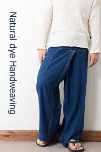 藍染め手織り綿の手縫いタイパンツ