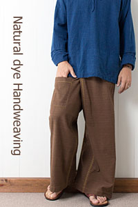 草木め手織り綿の手縫いタイパンツ