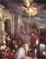 St-Lucillaを洗礼するSt-Valentinus / Jacopo Bassano