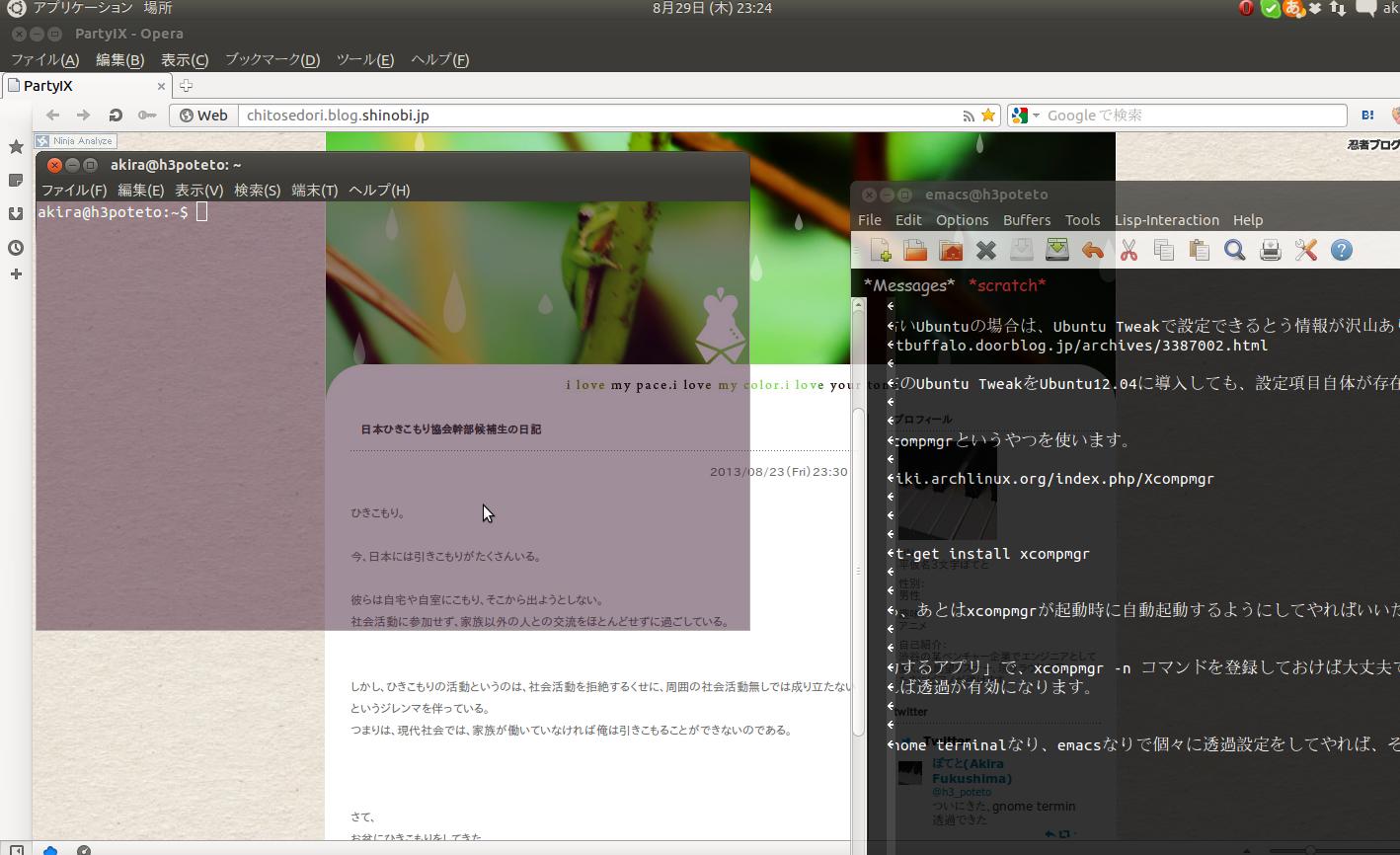 ubuntu透過ウィンドウ
