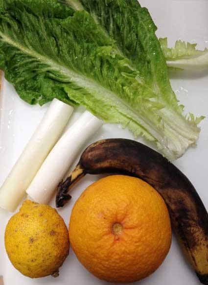 白ねぎとレモンのグリーンスムージーの材料