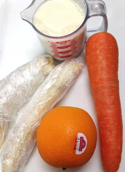 豆乳スムージーの材料。