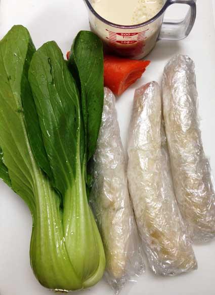 ちんげん菜の豆乳グリーンスムージーの材料。