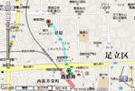 西新井駅~石川事務所までの経路