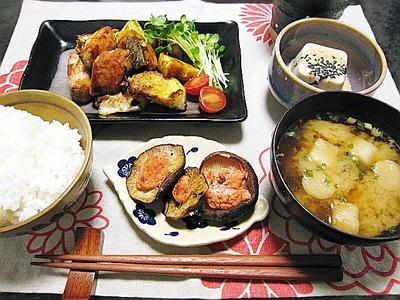 薩摩芋と鮭のオイスター蒸し