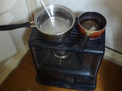 ストーブのお湯