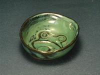 カエル彫小皿