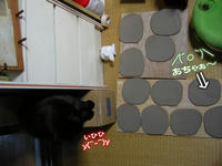 愛猫クロ後ろ足踏み皿