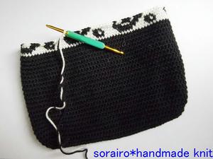 バラのトート編みかけ
