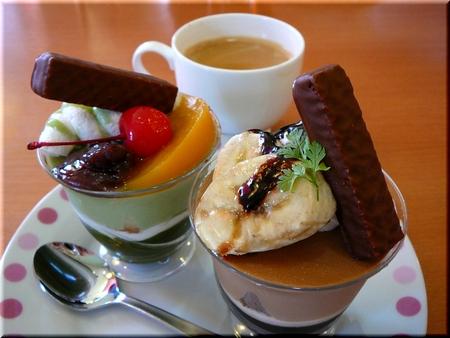 抹茶パフェ&チョコレートパフェ
