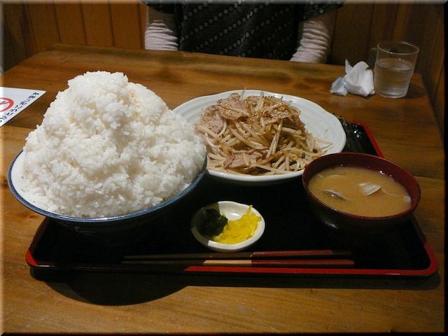 肉もやし炒め定食(肉ダブル・特特盛り)