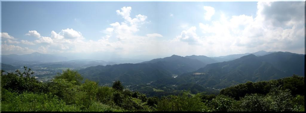 左側の高く尖った山が武甲山