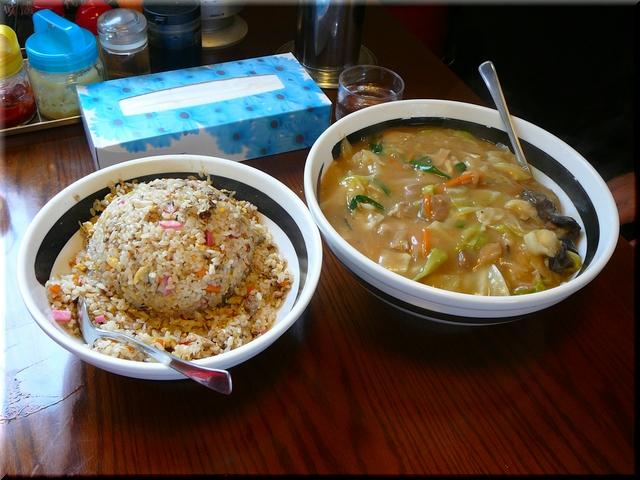 中華丼(てんこ盛り)& あさりチャーハン(てんこ盛り)