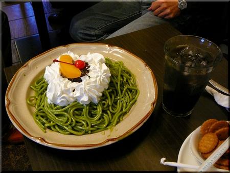甘口抹茶小倉スパ+イカスミジュース