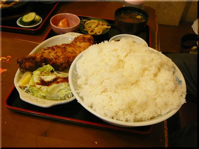 アーモンドポークチーズ定食(超特盛)