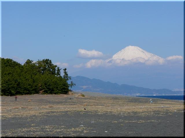 砂浜より望む富士山