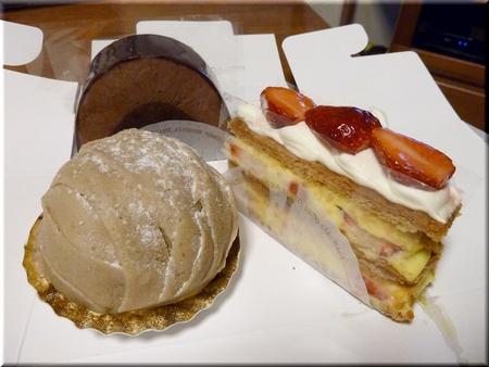 シュコラドゥショコラ+上野の山のモンブラン+苺のミルフィーユ