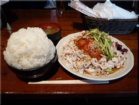 冷し豚定食(チリビーンズ・両方大盛り)