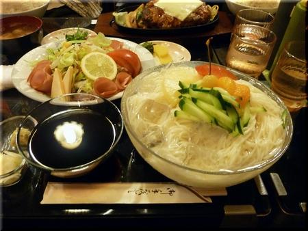 冷むぎ(大盛り)+ハムサラダ