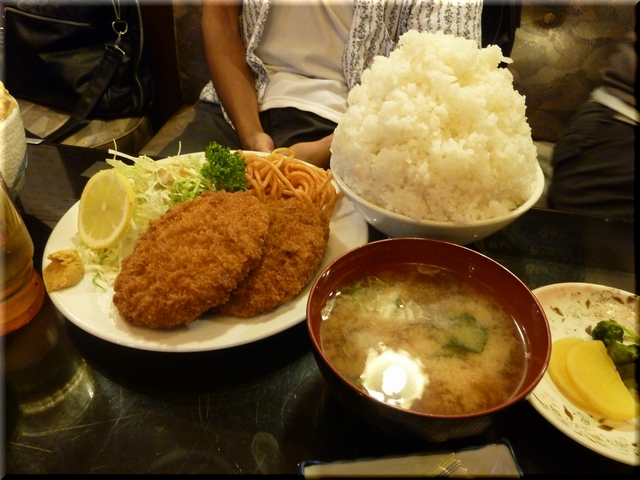 メンチ定食(大盛り)