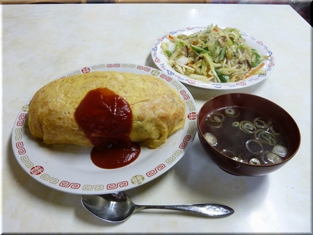 オムライス(特盛り)+ 野菜イタメ