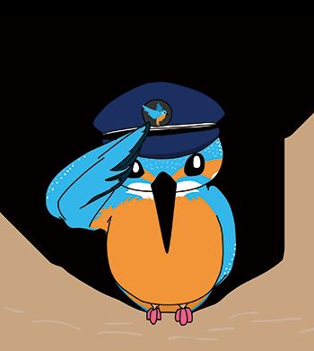 無料素材 無料イラスト 無料キャラクター カワセミ 駅長 kingfisher stationmaster