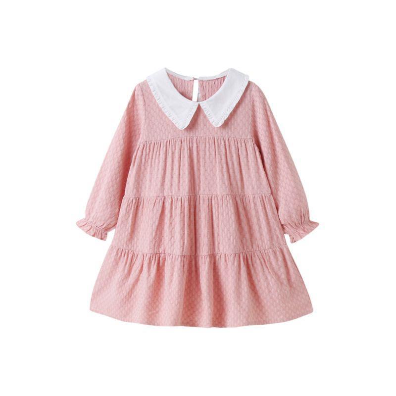 kiskissing wholesale kid girl contrast collar pink dress